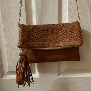 Madison West Tan Brown Faux Leather Crossbody